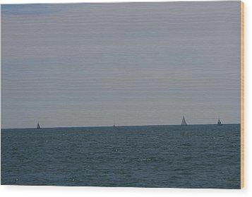 Four Yachts At Sea Wood Print