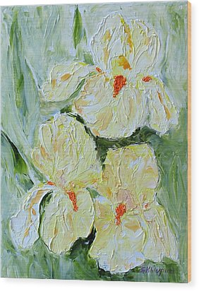 Three Yellow Irises Wood Print