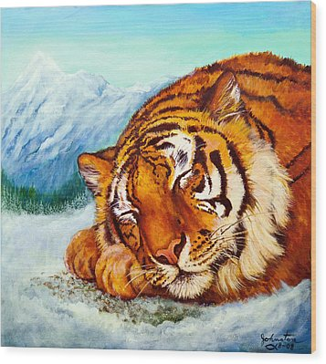 Wood Print featuring the painting  Tiger Sleeping In Snow by Bob and Nadine Johnston