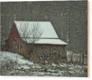 Tiny Stable Wood Print by Brenda Bostic
