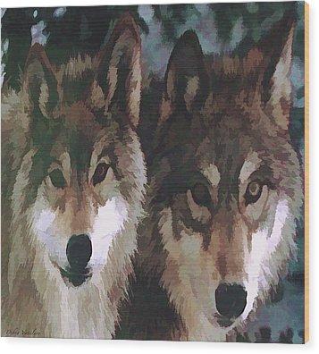 Together Forever Wolves Wood Print