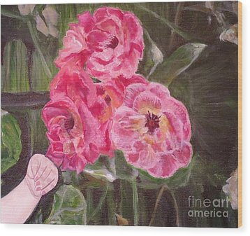 Wood Print featuring the painting  Touch Of The Roses Painting by Kimberlee Baxter