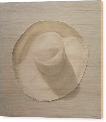 Travelling Hat On Dusty Table Wood Print by Lincoln Seligman