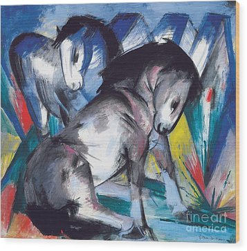 Two Horses Wood Print by Franz Marc
