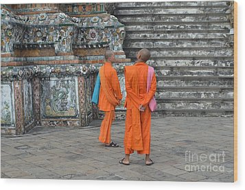 Two Monks Wood Print by Michelle Meenawong