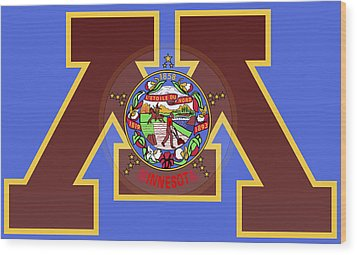 U Of M Minnesota State Flag Wood Print by Daniel Hagerman
