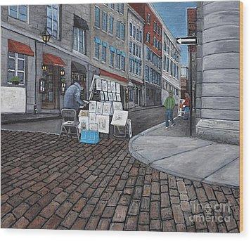 Vendeur Sur La Rue Vieux Montreal Wood Print by Reb Frost