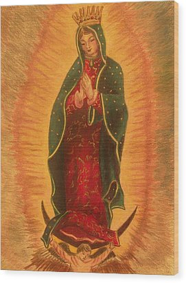 Wood Print featuring the drawing  Virgen  De  Guadalupe by Beth Arroyo