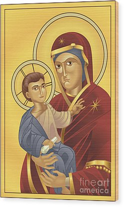 Virgin Mary And Jesus Christ Wood Print by Christos Georghiou