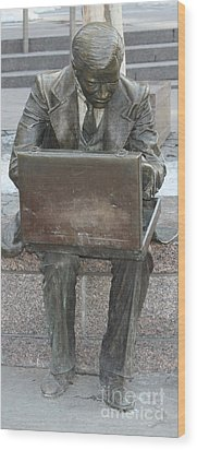 Wood Print featuring the photograph  Wall Street Memorial Statue by John Telfer