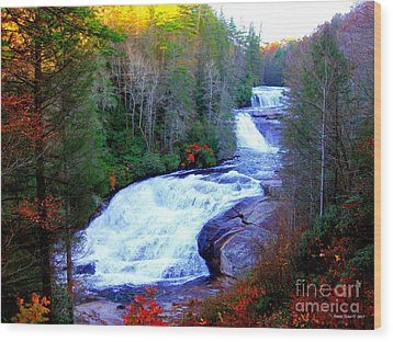 Waterfall At Dupont Forest Nc 2 Wood Print by Annie Zeno