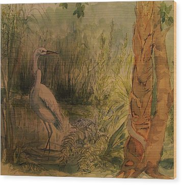 White  Bird Posed Wood Print
