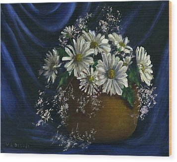 White Daisies In Blue Fabric Still Life Art Wood Print by Lenora  De Lude