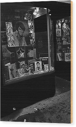 Wood Print featuring the photograph  Window Display Night Of Elvis Presley's Death Recordland Portland Maine  1977 by David Lee Guss