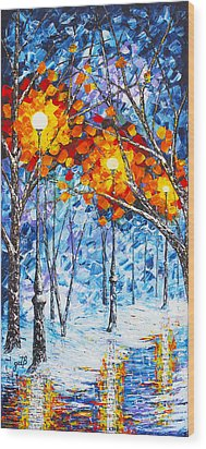 Wood Print featuring the painting  Silence Winter Night Light Reflections Original Palette Knife Painting by Georgeta Blanaru