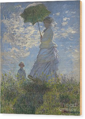 Woman With A Parasol Madame Monet And Her Son Wood Print by Claude Monet