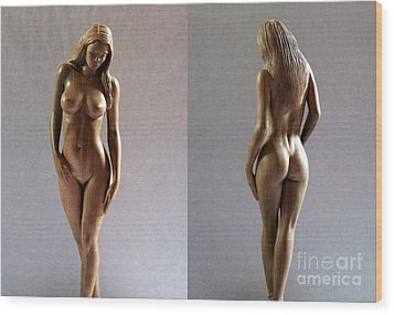 Wood Sculpture Of Naked Woman Wood Print by Ronald Osborne