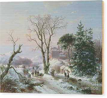 Wooded Winter River Landscape Wood Print by  Andreas Schelfhout