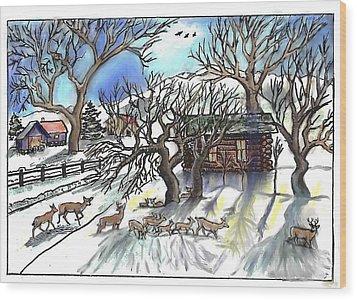 Wyoming Winter Street Scene Wood Print by Dawn Senior-Trask
