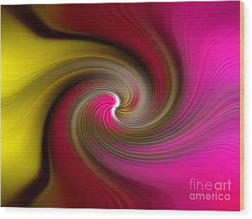 Yellow Into Pink Swirl Wood Print