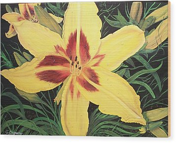 Wood Print featuring the painting  Yellow Lily by Sharon Duguay