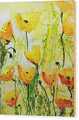 Yellow Poppy 2 - Abstract Floral Painting Wood Print by Ismeta Gruenwald