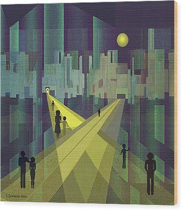 003 - Nightwalking  To A Distant City Wood Print by Irmgard Schoendorf Welch