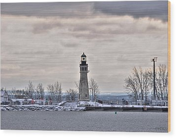 01 Winter Light House Wood Print by Michael Frank Jr