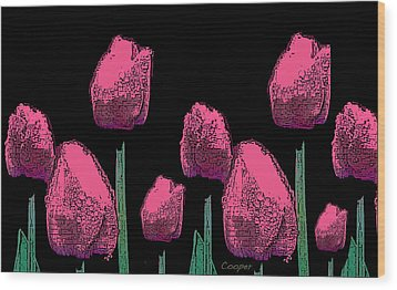 010 Hot Pink Tulips 2a Wood Print