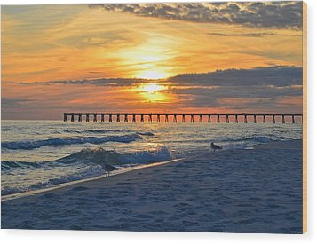 0108 Sunset Colors Over Navarre Pier On Navarre Beach With Gulls Wood Print by Jeff at JSJ Photography
