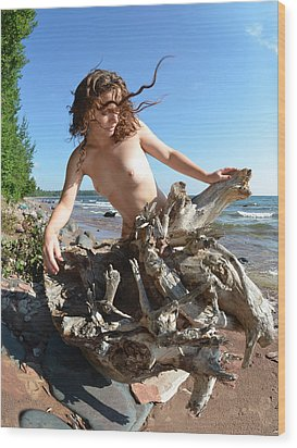 0114 Windswept Nude In Nature  Wood Print
