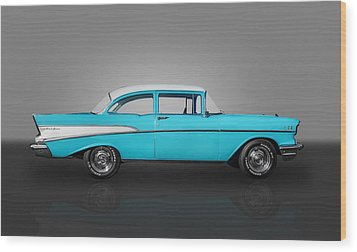 1957 Chevrolet 2 Door Post Wood Print