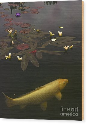0212 Yellow Koi Wood Print by Lawrence Costales