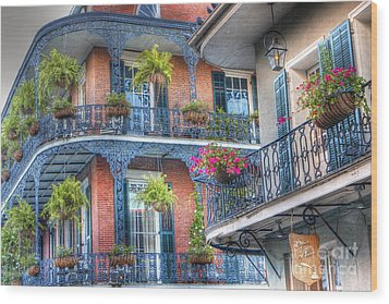 0255 Balconies - New Orleans Wood Print