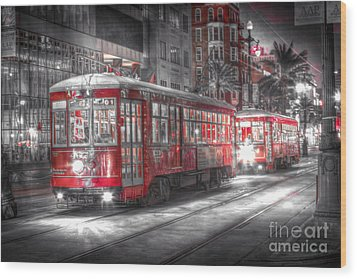 0271 Canal Street Trolley - New Orleans Wood Print by Steve Sturgill