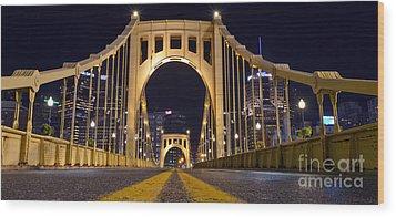 0304 Roberto Clemente Bridge Pittsburgh Wood Print by Steve Sturgill