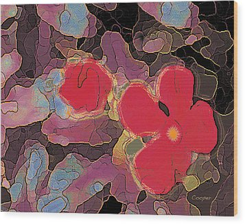 044 Cosmic Impatiens 6 With Blue Wood Print