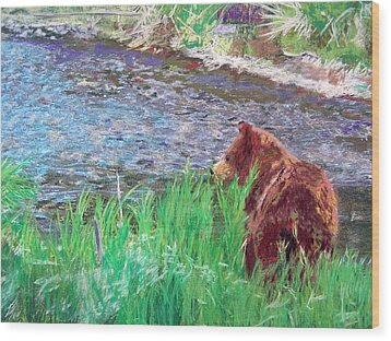 082714 Black Bear Pastel Wood Print