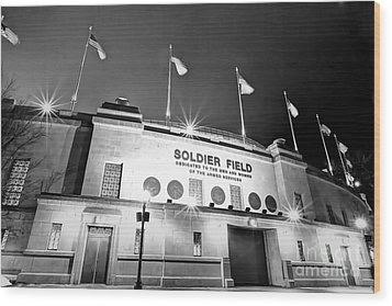 0879 Soldier Field Black And White Wood Print by Steve Sturgill