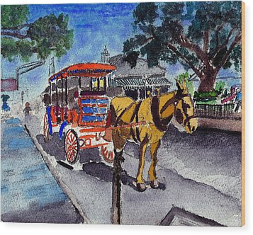 090514 New Orleans Carriages Watercolor Wood Print