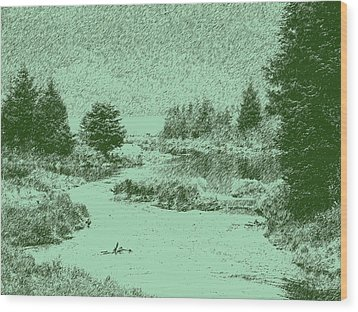 092214 Digital Pen Drawing Alaska Wood Print