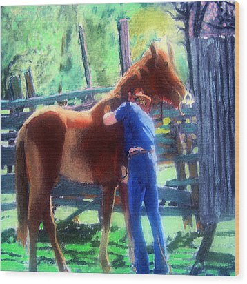 092814 Louisiana Cow Boy Wood Print