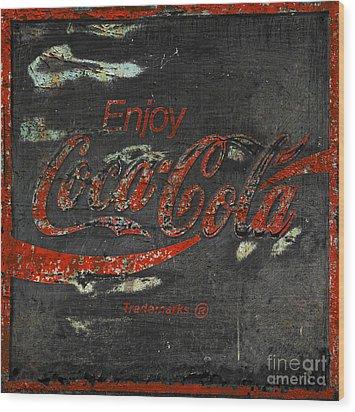 Coca Cola Sign Grungy  Wood Print
