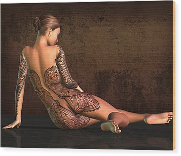 Wood Print featuring the digital art  Tattooed Nude 4 by Kaylee Mason