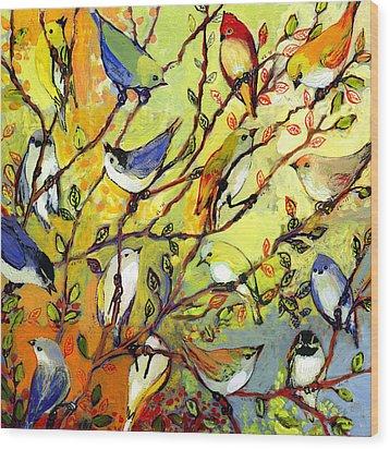 16 Birds Wood Print
