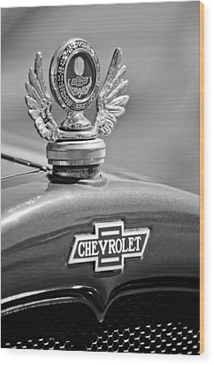 1928 Chevrolet Stake Bed Pickup Hood Ornament Wood Print by Jill Reger
