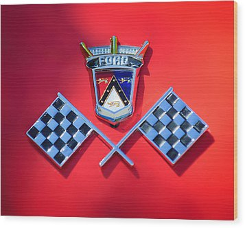 1955 Ford Thunderbird Emblem Wood Print by Jill Reger