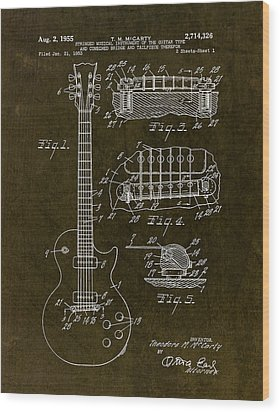 1955 Gibson Les Paul Patent Drawing Wood Print by Gary Bodnar