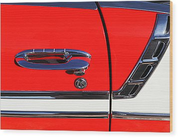 1956 Chevrolet Belair Convertible Custom V8 Door Handle Wood Print by Jill Reger
