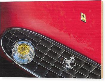 1957 Ferrari 410 Superamerica Series II Grille Emblem Wood Print by Jill Reger